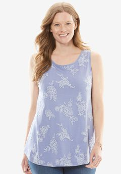 Embroidered Scoop Neck Tank,
