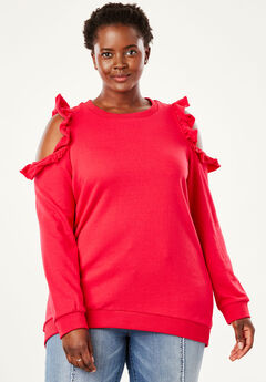 Cold-Shoulder Ruffle Tunic Sweatshirt by Chelsea Studio®, HOT PINK