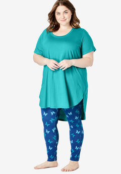 High-Low Tunic PJ Set by Dreams & Co.®, WATERFALL BUTTERFLY