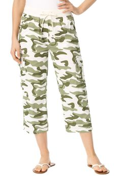 Convertible-Length Cotton Cargo Capri Pants,