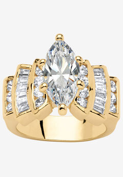 Gold-Plated Marquise Cut Step Top Engagement Ring Cubic Zirconia,