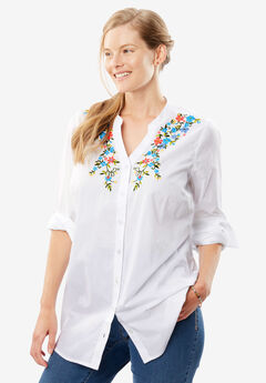 Perfect Mandarin Collar Button Down Shirt,