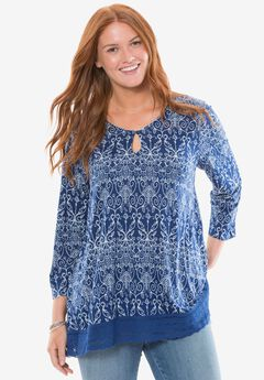 Chelsea Studio® Lace trim tunic,