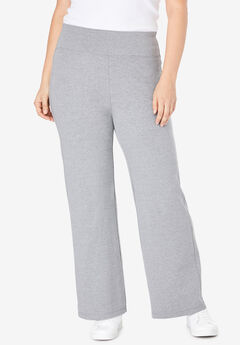 Stretch Cotton Wide Leg Pant, MEDIUM HEATHER GREY