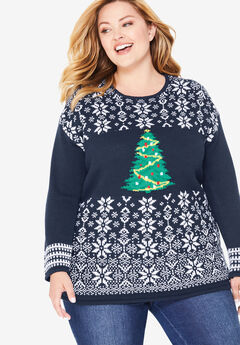 Holiday Pullover Sweater, NAVY CHRISTMAS TREE