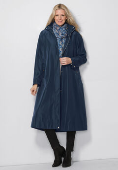 Water repellent long raincoat,