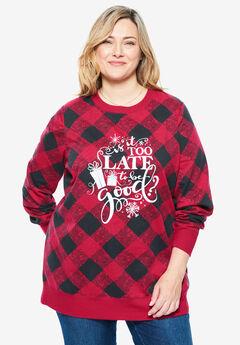Fleece Holiday Sweatshirt, CLASSIC RED BE GOOD
