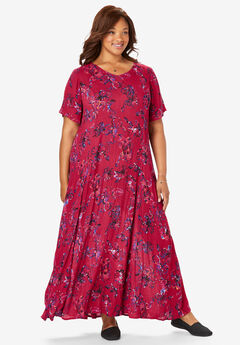Crinkle Dress, CLASSIC RED ART FLORAL