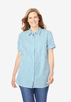 Short Sleeve Button Down Seersucker Shirt, DEEP TURQUOISE STRIPE