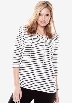 Rib Knit Lace-up Tee,