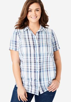Perfect Short Sleeve Button Down Shirt,