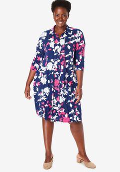 Three-Quarter Sleeve Stretch Shirtdress,