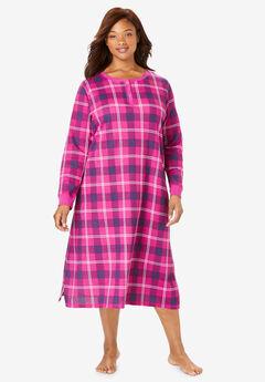 Thermal Henley Sleepshirt by Dreams & Co., RASPBERRY VIOLET PLAID