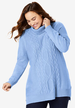 Mixed Cable Turtleneck Sweater, FRENCH BLUE