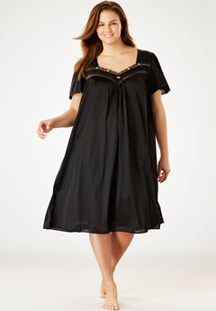 Short Silky Lace-Trim Gown by Only Necessities®,