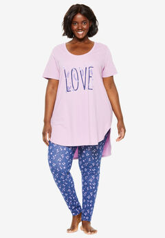 High-Low Tunic PJ Set by Dreams & Co.®, LIGHT ORCHID LOVE