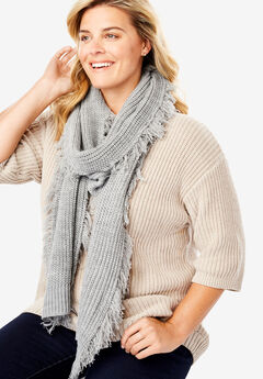 Frayed Rib Knit Scarf,