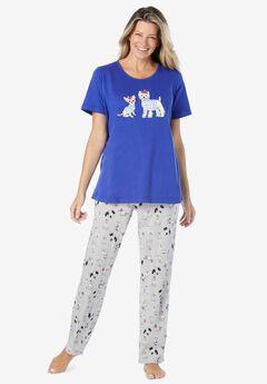 Graphic Tee PJ Set , ULTRA BLUE DOGS