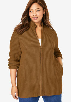 Zip Front Shaker Cardigan, SOFT BROWN