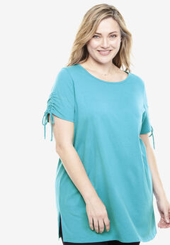 Perfect Ruched-Sleeve Tunic, SOFT TURQUOISE