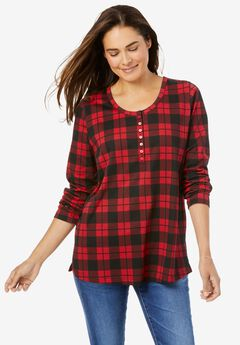 Perfect Printed Long-Sleeve Henley Tee, CLASSIC RED PLAID