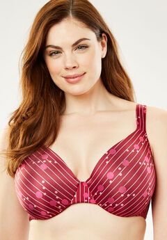 Microfiber Underwire T-Shirt Bra by Comfort Choice®, POMEGRANATE STRIPE