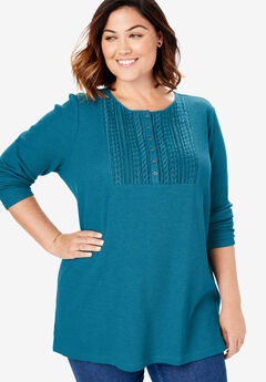 Lace Bib Washed Thermal Henley Tee, DEEP TEAL