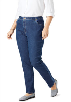 Straight Leg Stretch Jean, MEDIUM STONEWASH