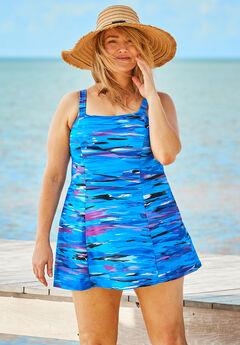 Princess-Seam Swim Dress by Swim 365, BLUE WAVE ABSTRACT