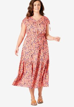 Ruched Sleeve Tiered Midi Dress,