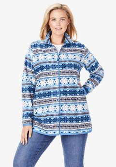 Zip-Front Microfleece Jacket, BLUE WINTER FAIR ISLE