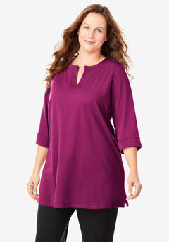 Three-Quarter Sleeve Banded Neck Tunic,