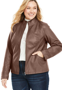 Faux Leather Pleat Jacket,