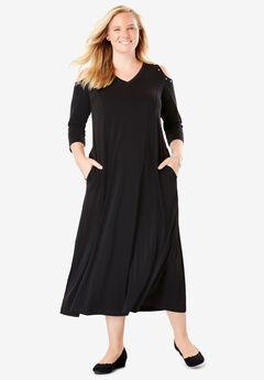 Rhinestone-Trim Cold-Shoulder Dress,