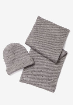 Bejeweled Beanie and Scarf Set, HEATHER GREY