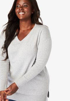Fine Gauge Pullover V-Neck Sweater,