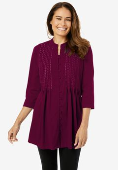 Pleated Embroidered Tunic,