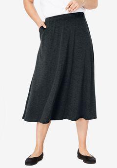A-Line Ponte Skirt, HEATHER CHARCOAL