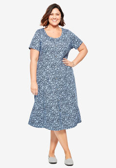 Faux Button Front Tee Dress, NAVY GARDEN FLORAL