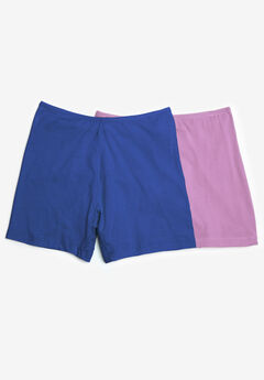 2-Pack Stretch Cotton Boxer Boyshort by Comfort Choice®, BLUE ORCHID PACK