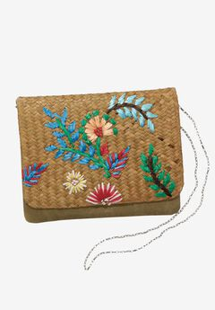 Embroidered Raffia Crossbody,