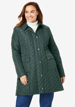 Fleece-Lined Quilted Coat, DEEP EMERALD