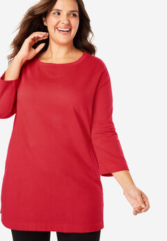 French Terry Pocket Tunic Sweatshirt with Rolled Sleeves,