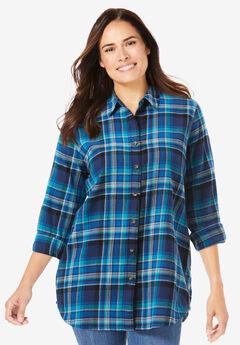 Classic Flannel Shirt, BRIGHT COBALT PLAID