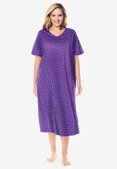 Long Print Sleepshirt by Dreams & Co.®, PLUM BURST DOT