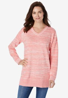 Marled V-Neck Pullover Sweater, SWEET CORAL WHITE MARLED