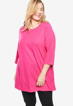 Perfect Three-Quarter Sleeve Scoop Neck Tunic,