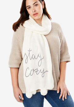Graphic Pom-Pom Scarf, IVORY STAY COZY