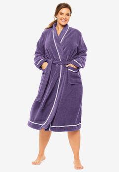 Spa Terry Short Wrap Robe by Dreams & Co.®, RICH VIOLET