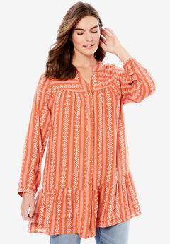 Button-Front Pleated Tunic by Chelsea Studio®,